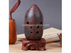 Professional 10 Hole Chinese Xun Pottery Flute, XUN-BT-2, 12 Notes
